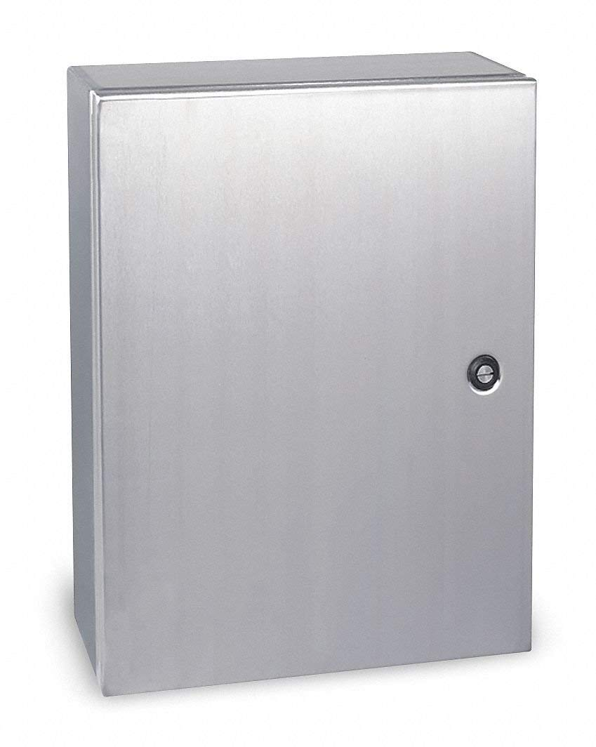 "16""H x 16""W x 6""D Metallic Enclosure, Stainless Steel, Knockouts: No, 1/4 Turn Latch Closure Method"