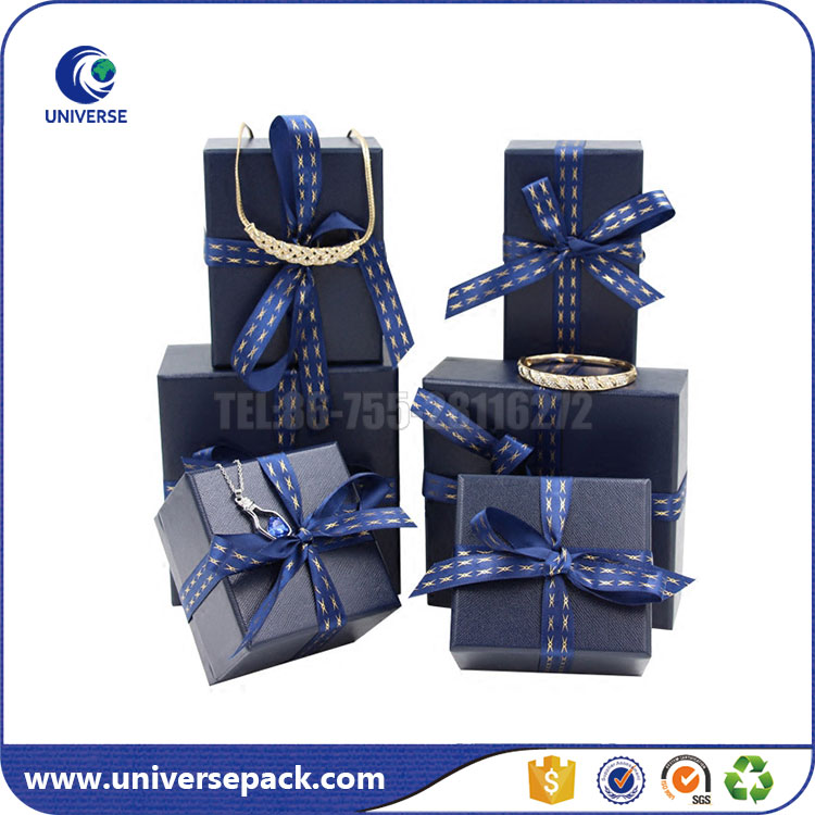 High grade custom paper jewelry box with logo ribbon
