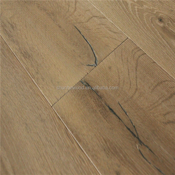 Wide Plank Cheap Prices Rustic Smoked Grey Stained French Oak