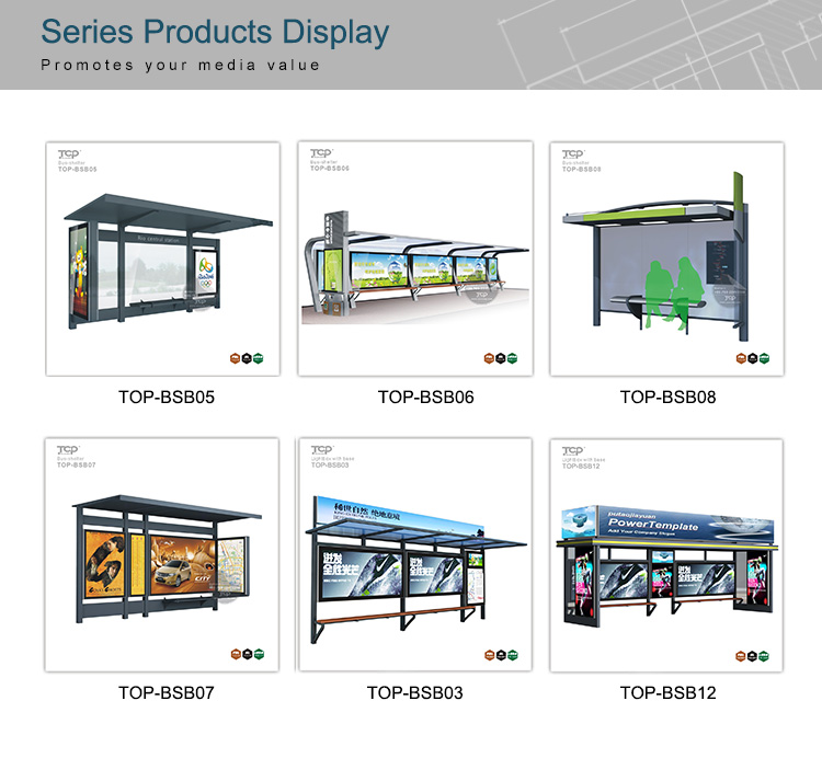 Outdoor Stainless Steel Structure  Advertising Bus Shelter Information