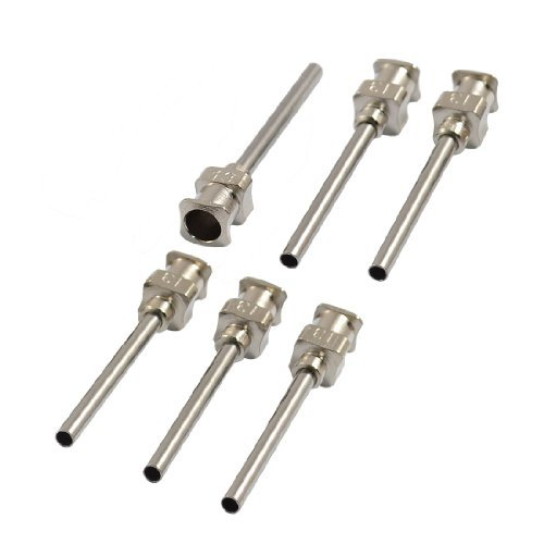 """TOOGOO(R) Stainless Steel Luer Lock Industrial Liquid Dispensing Needle Tip, 13 Gauge, 1.81mm ID x 2.26mm OD, 1"""" Length (Pack of 6)"""