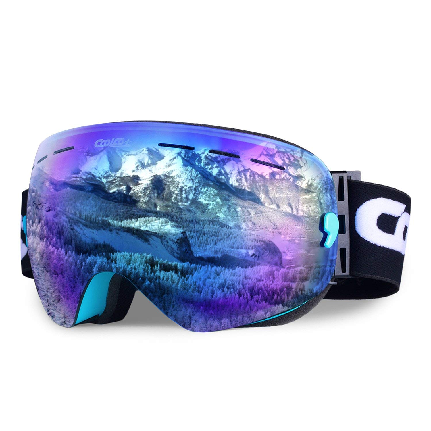 COOLOO Ski Goggles, Snowboard Goggles with Anti-fog UV Protection Interchangeable Spherical Dual Lens - OTG Over Glasses Helmet Compatible for men women boys girls kids