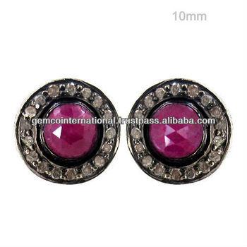 c6220f25012e Индийский Рубин Серьги с бриллиантами серебряные Серьги с драгоценными  камнями 14 К желтый Золотые Ювелирные серьги