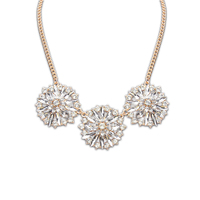 The lowest gold necklace designs price vietnam jewelry morden pure flower crystal necklace PN2288