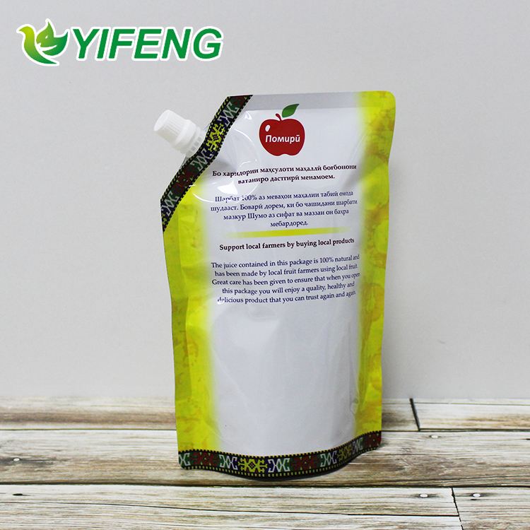 Reusable Stand Up Plastic Custom Liquid Fruit Juice Drink Packaging Spout Pouch Bag / Juice Doypack With Spout Cap