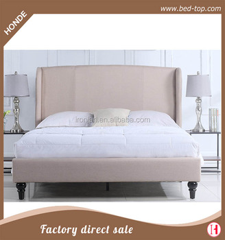 Modern Pink High Wing Back Headboard Fabric Double Beds For Bedroom Furniture