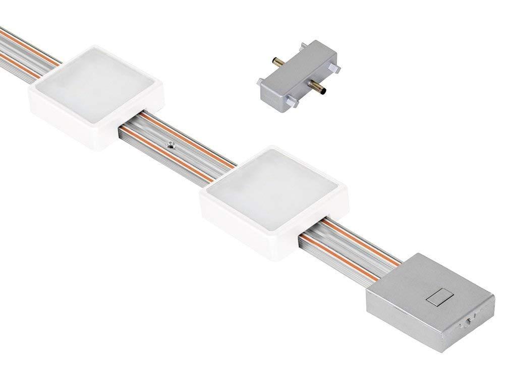 "Jesco Lighting KIT-RZ-EXT-T12-SQ2-30wH Radianz 2-Light Square LED Track Lighting Extension Kit, White, 12"""