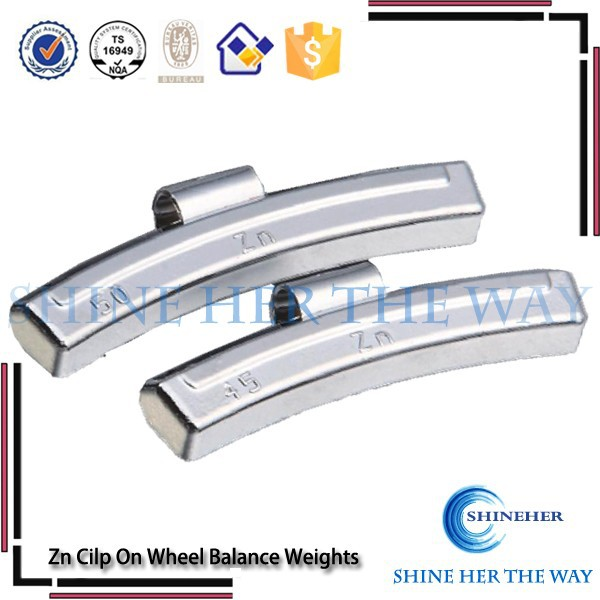Cilp on zinc alloy wheel balancing weights