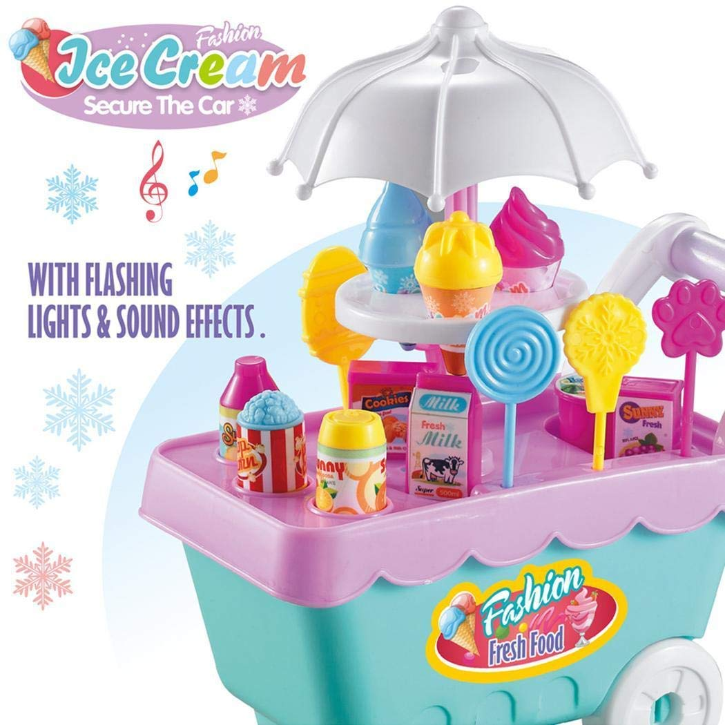 Lunir 19Pcs Kids Rotating Ice Cream Candy Pretend Play Food Supermarket Trolley Toys