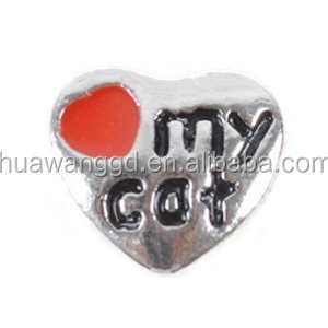 Wholesale cute silver heart my cat alloy floating charm bead