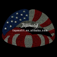 simple design t shirt American flag lips rhinestone hotfix design