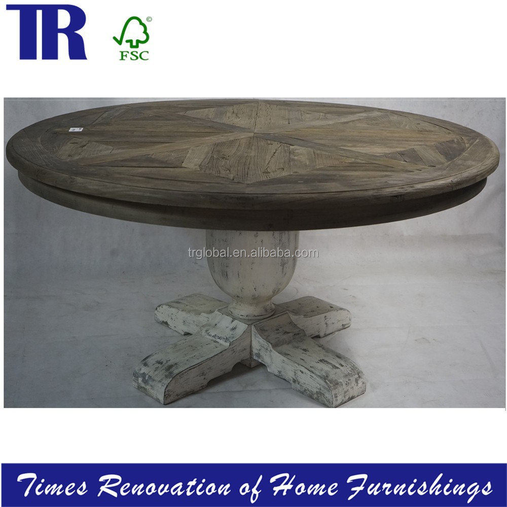 old elm laminated top Dining Table,French style Round Dining Table,Recycled Wood Dining Table