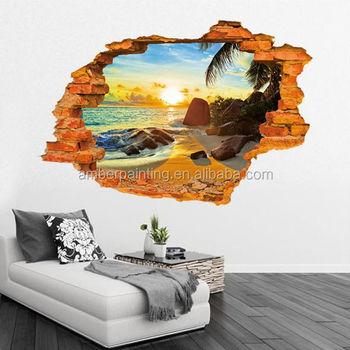 grosir removable pvc 3d pemandangan wall sticker untuk dekorasi