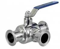 SS304 Sanitary Stainless Steel Clamp 3 Ways Ball Valve