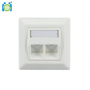 80x80mm German type 2 port compatible wallplate & faceplate - with 50x50mm central plate & metal keystone frame, angled port
