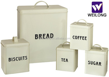 Food Grade Kitchen Square Metal Storage Canisters Set Bread Box Coffee Tea  Biscuit Sugar Tin Jar - Buy Bread Box,Metal Storage Canister,Kitchen ...