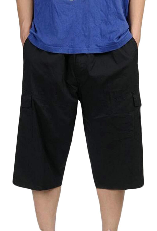 M/&S/&W Mens Elastic Waist Loose Multi-Pocket Chino Cargo Work Shorts