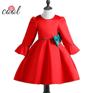 little bow kids frock design decoration winter long sleeves red colour girl dress of 12 years old