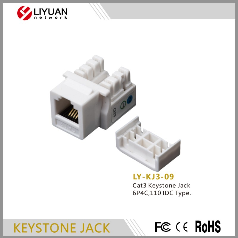 LY-KJ3-09 high speed cat3 Keystone Jack rj45 connecter with dust cover