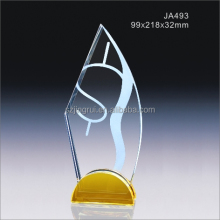 Custom shape k9 quality frosted crystal trophy