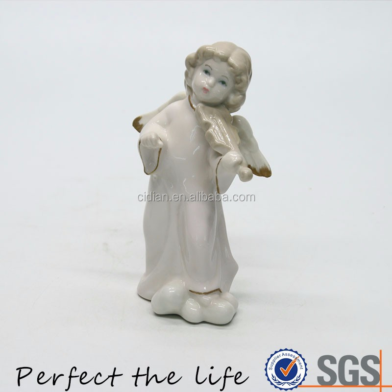 Ceramic white angel porcelain Figurine with a Guitar in hand