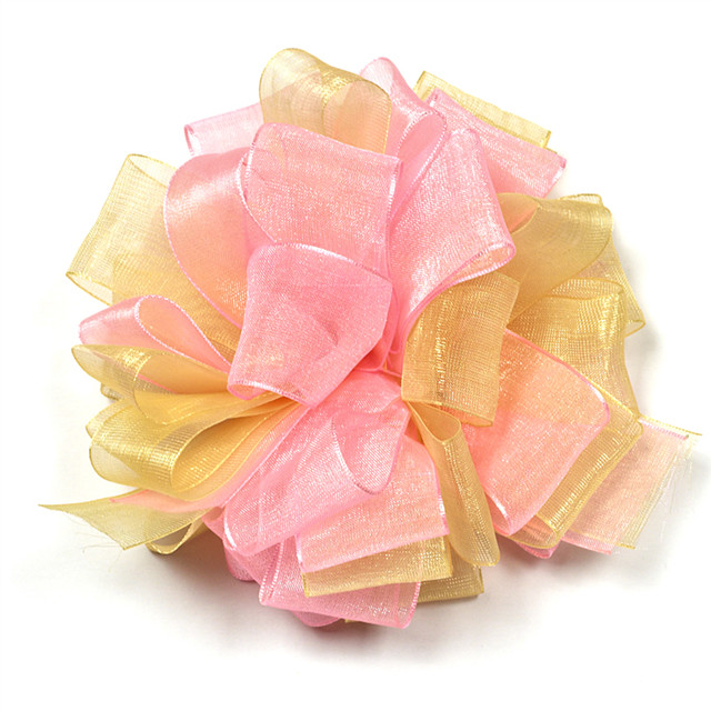 yellow mix pink sheer handmade organza ribbon flowers for decoration