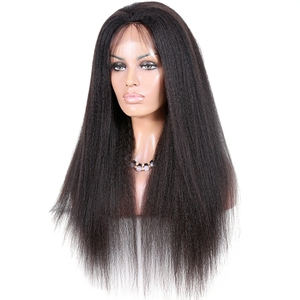 Factory direct natural color kinky straight yaki 13x4 lace frontal Indian remy human hair lace front wig for black women