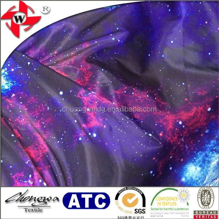 Polyester spandex fahion print fabric galaxy and nebula for Nebula print fabric