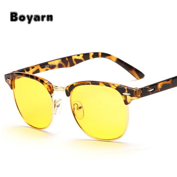 fa3c950d095 Half Frame Blue Rays Anti-fatigue Reading Glasses Yellow Tint Lens Night  Vision Driving Glasses
