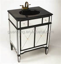 FASHION BATHROOM SINK VANITY B LACK MARBE TOP MIRORED CHEST