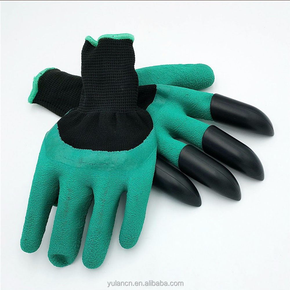 1 Pair Garden <strong>Gloves</strong> Digging 4 Plastic Claws Gardening Rubber <strong>Gloves</strong>-NEW
