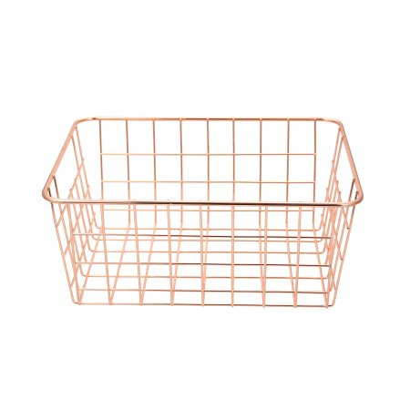support full inspection 549-97A ins wrought iron rose gold desktop metal wire storage organizer bin basket
