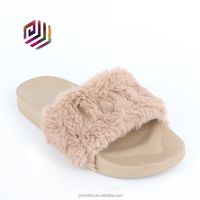 2018 Fluffy Mules Soft Faux Fur Slides Slippers For Women