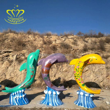 Shopping New product fiberglass resin Painting dolphin fish sculpture for garden home decor