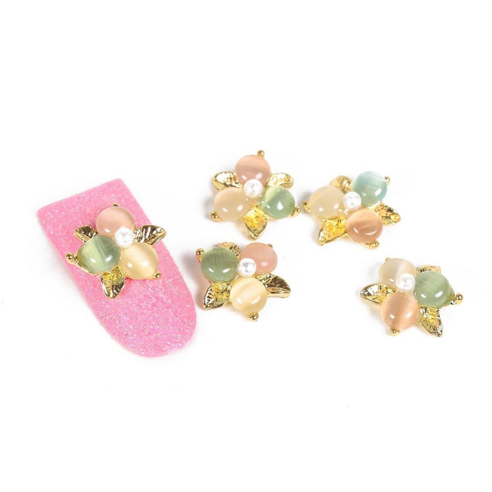 So Beauty Fashion Stunning Glitter Gold Metal with Green Yellow Bead Nail Art DIY Decorations - 10 Pcs