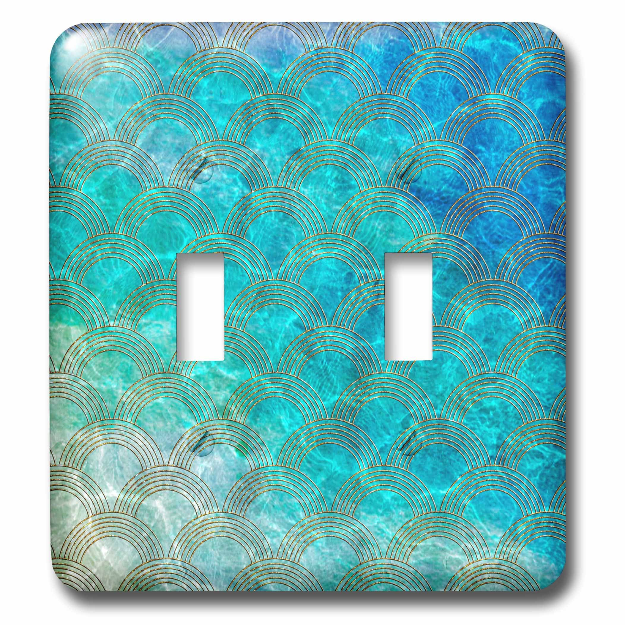 3dRose (lsp_266973_2) Double Toggle Switch (2) Shiny Teal Ocean Mermaid Scales Glitter Effect Art Print
