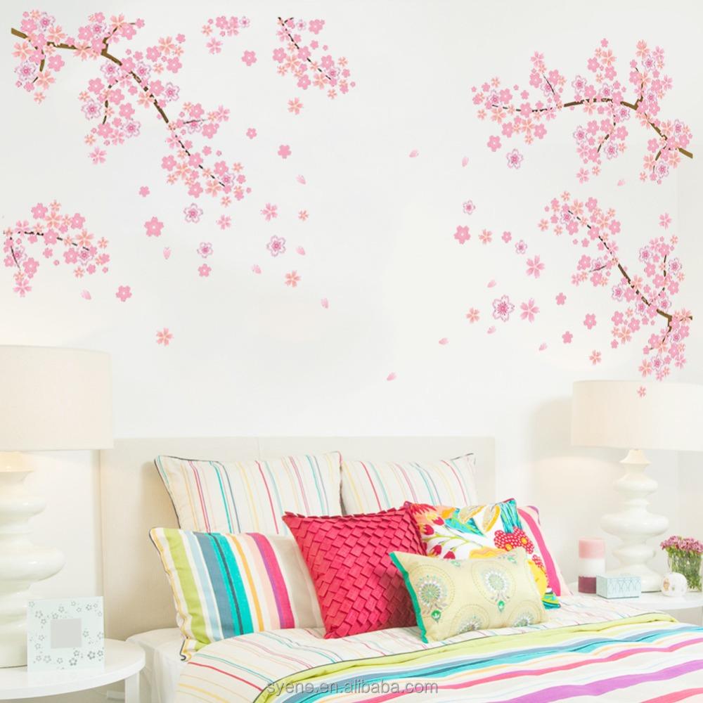 New Korean Pink Sakura Flower Family Tree Wall Sticker For Decorate