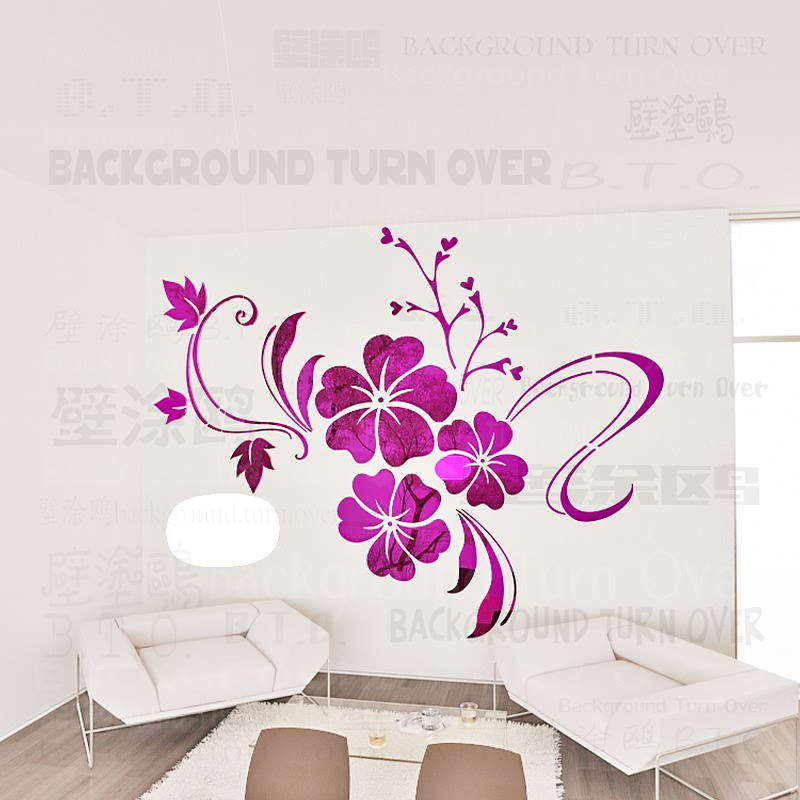 SH-076 DIY spring nature hibiscus flower mirror decorative wall sticker home decor 3d wall decoration room decals mural