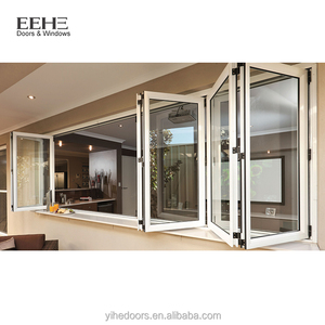 Blind inside double glass bifold window aluminum