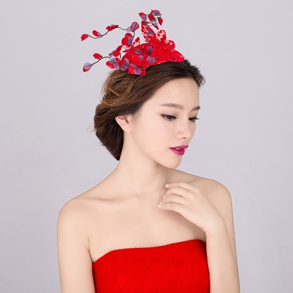 GYMNLJY Wedding Hats Handmade Women S Fascinator Cocktail Party Lace Flower  Red 45133d50ce5