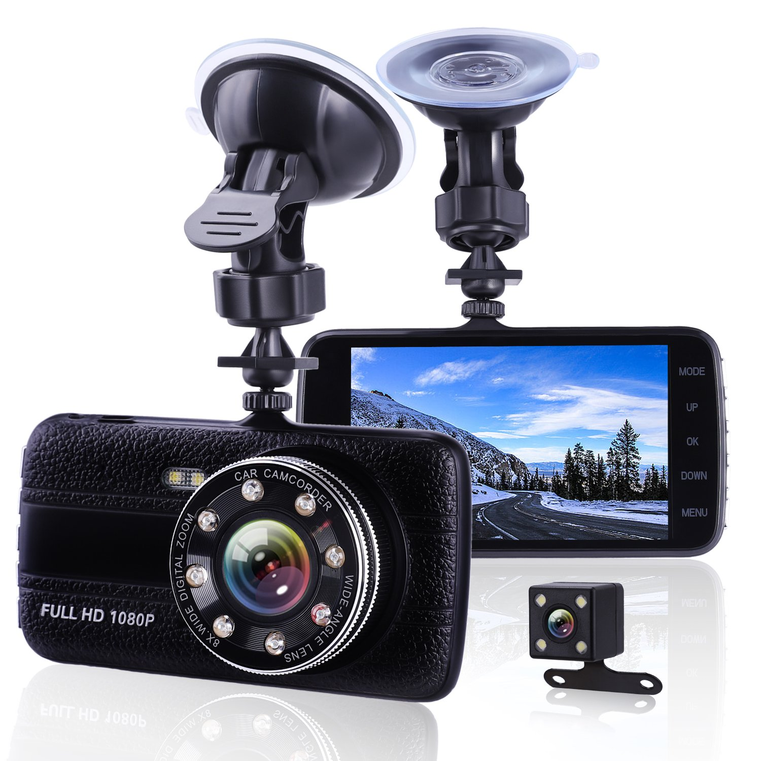 Car Camera Dash Cam Front and Rear Dual Camera, Superior Night Vision 1080P HD Dashcam,4 Inch Large IPS Screen Car Dashboard Camera, Car Video Recorder With G-sensor, Loop Recording, Motion Detection