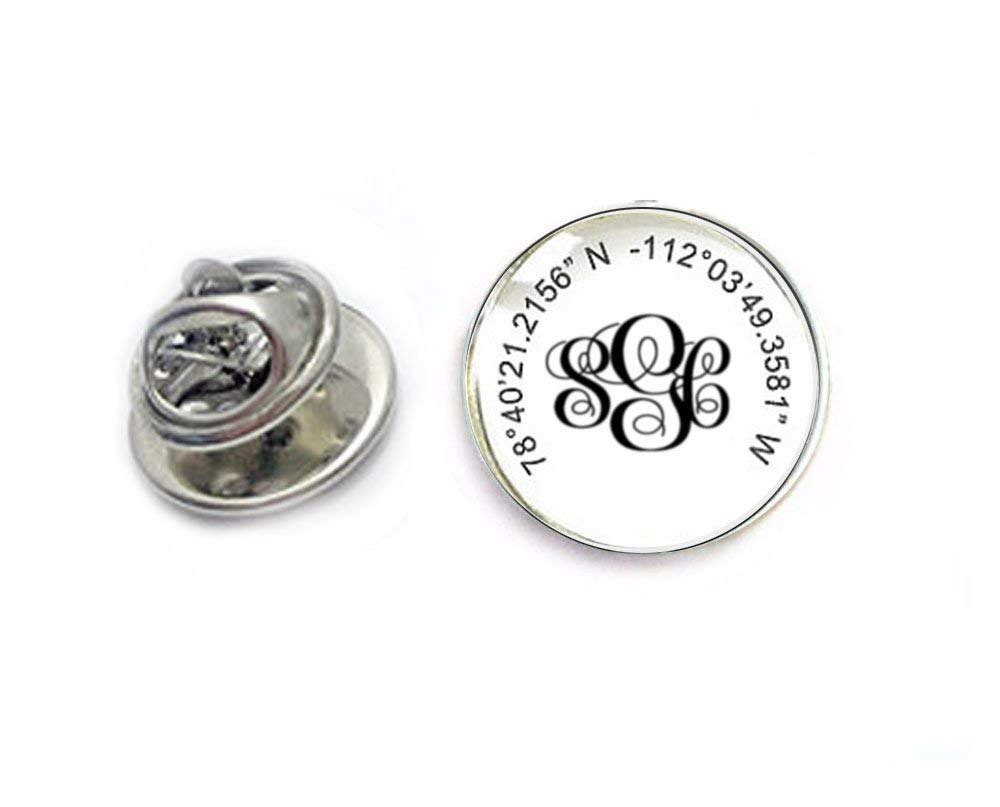 b08dbd995702 Get Quotations · Monogram Latitude Longitude Tie Tack, Personalized Tie Pin,  Lapel Pin, Scarf Pin