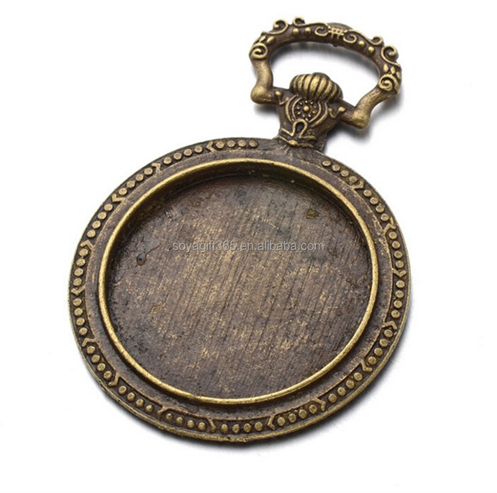 50pcs/lot 55/30mm Bronze Silver-plated Pendant Trays Round Blank Bezel