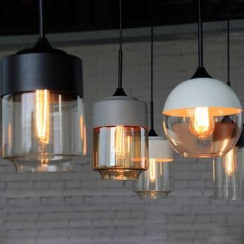 Nordic industrial style glass chandelier lighting for restaurant bar