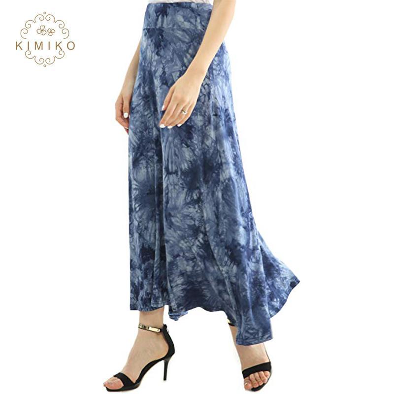 eca3acfdb Casual faldas Tie Dye cintura elástica pliega azul largo Maxi falda de las  mujeres