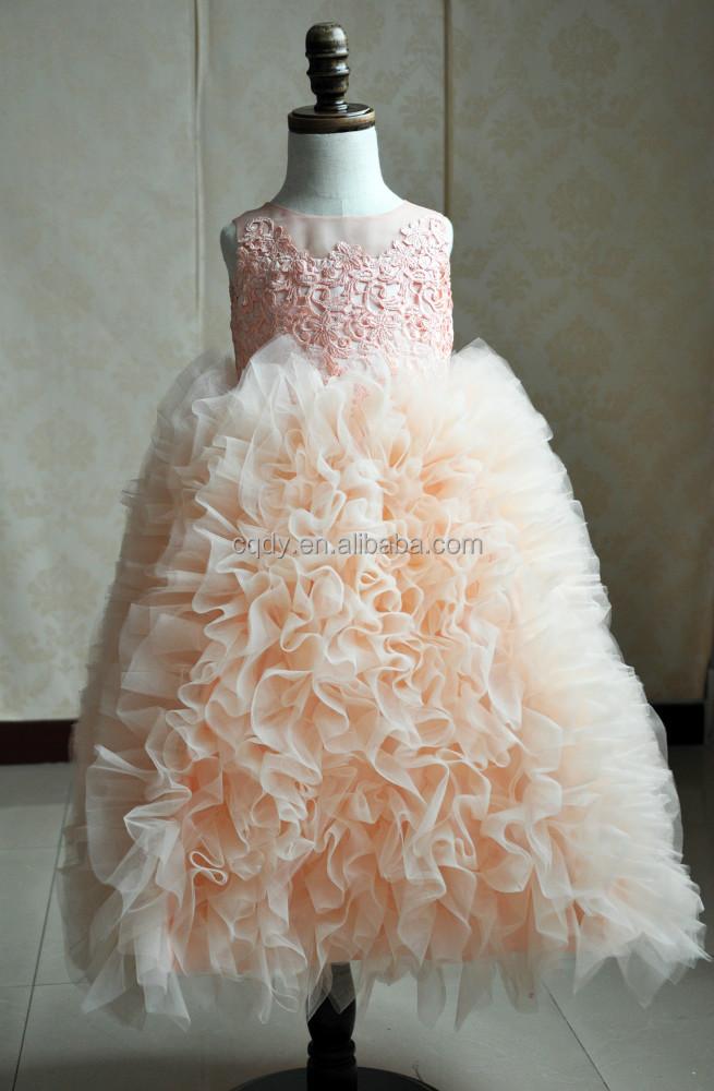 2017 moda Lila vestidos de niña para la boda cabrito bola vestidos ...