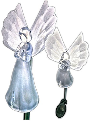 Solar Powered Angel w/Fiber Optic Wing Garden Stake Outdoor Color Change Lights (Set of 2)