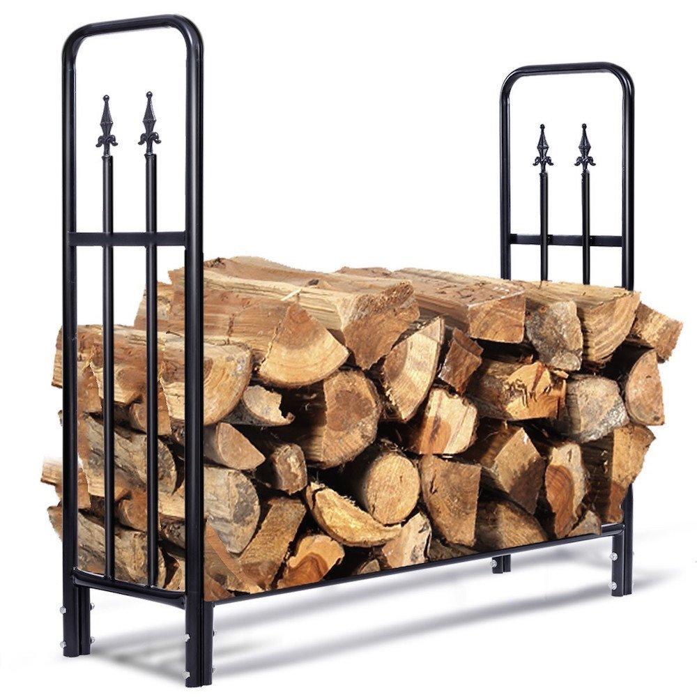 MBN 4' Outdoor Heavy Duty Steel Firewood Wood Storage Rack
