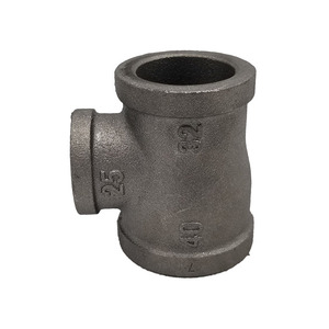 High quality black color malleable iron gi pipe fittings reducing tee