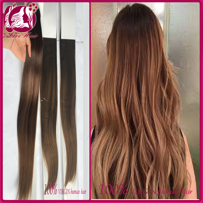 ombre color one piece human hair extensions brazilian hair virgin brown color hair